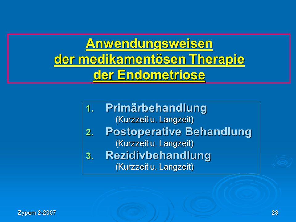 Anwendungsweisen der medikamentösen Therapie der Endometriose