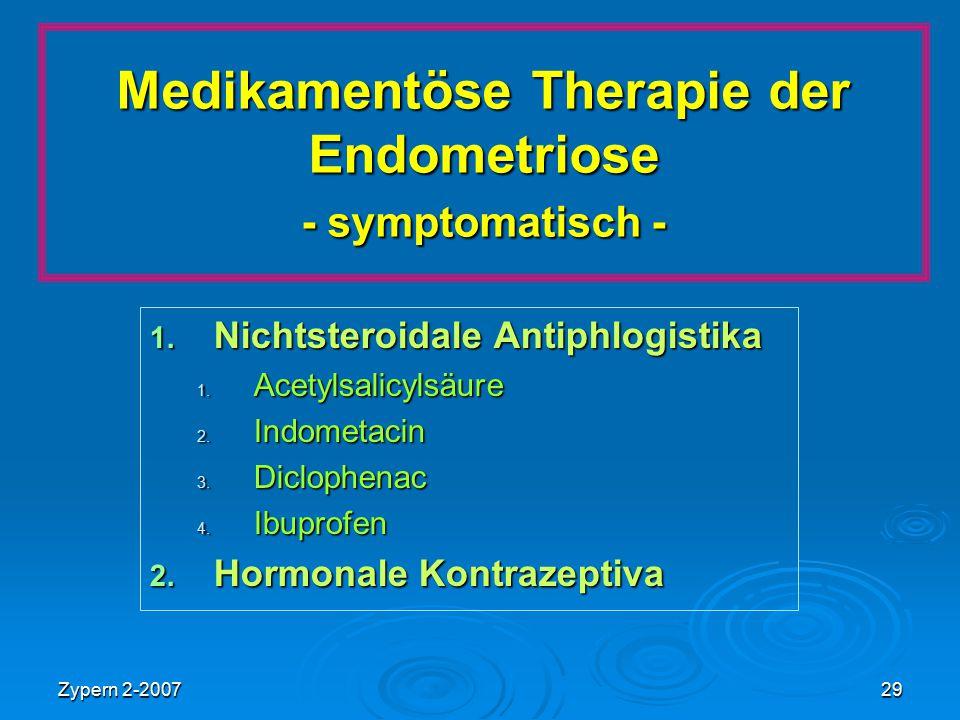Medikamentöse Therapie der Endometriose - symptomatisch -