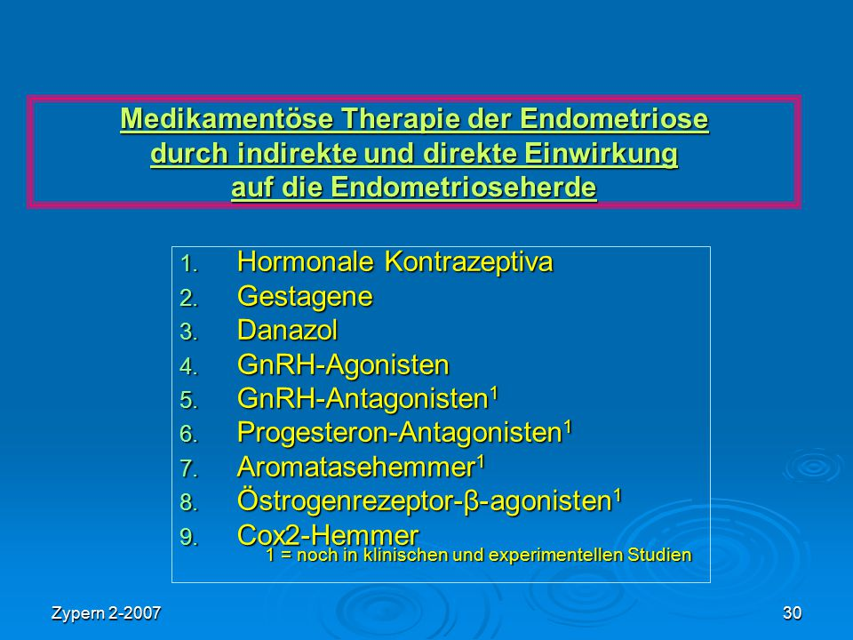 Hormonale Kontrazeptiva Gestagene Danazol GnRH-Agonisten
