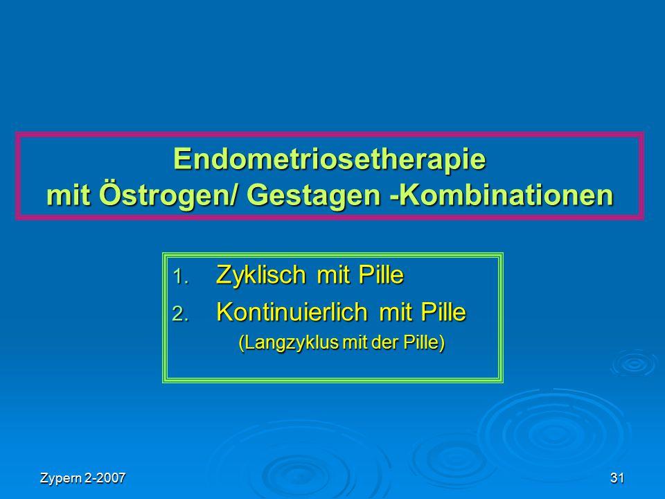 Endometriosetherapie mit Östrogen/ Gestagen -Kombinationen