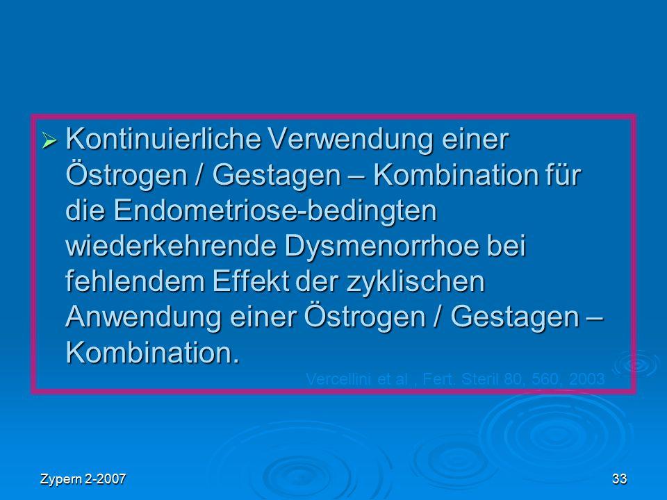 Kontinuierliche Verwendung einer Östrogen / Gestagen – Kombination für die Endometriose-bedingten wiederkehrende Dysmenorrhoe bei fehlendem Effekt der zyklischen Anwendung einer Östrogen / Gestagen – Kombination.