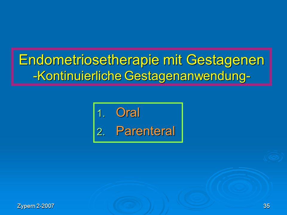 Endometriosetherapie mit Gestagenen -Kontinuierliche Gestagenanwendung-
