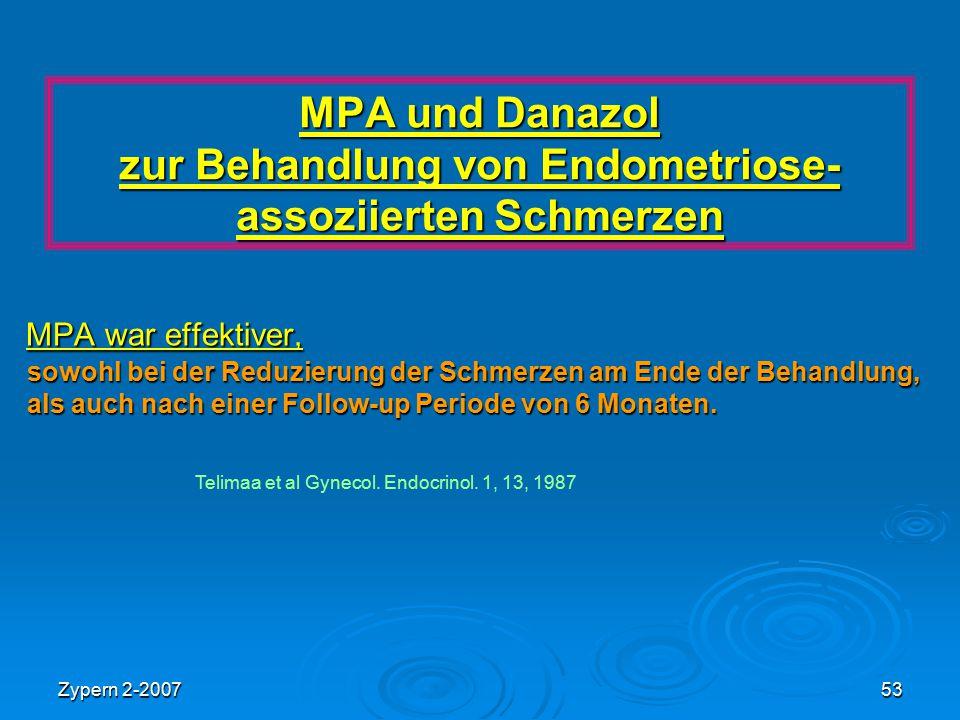 MPA und Danazol zur Behandlung von Endometriose- assoziierten Schmerzen