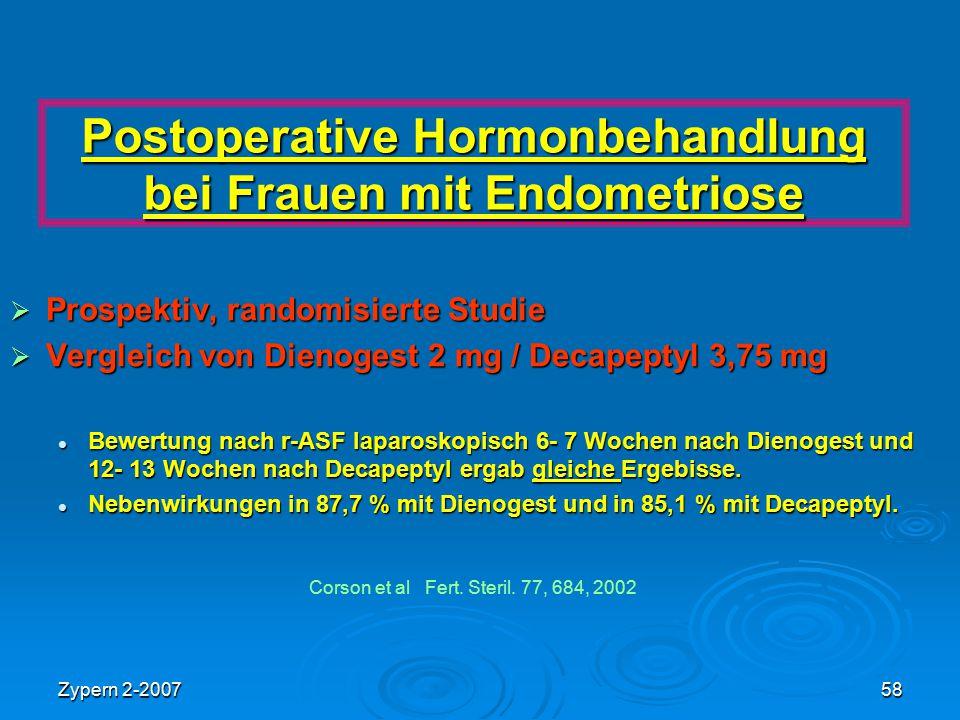Postoperative Hormonbehandlung bei Frauen mit Endometriose
