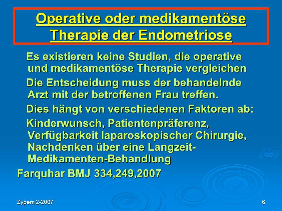 Operative oder medikamentöse Therapie der Endometriose