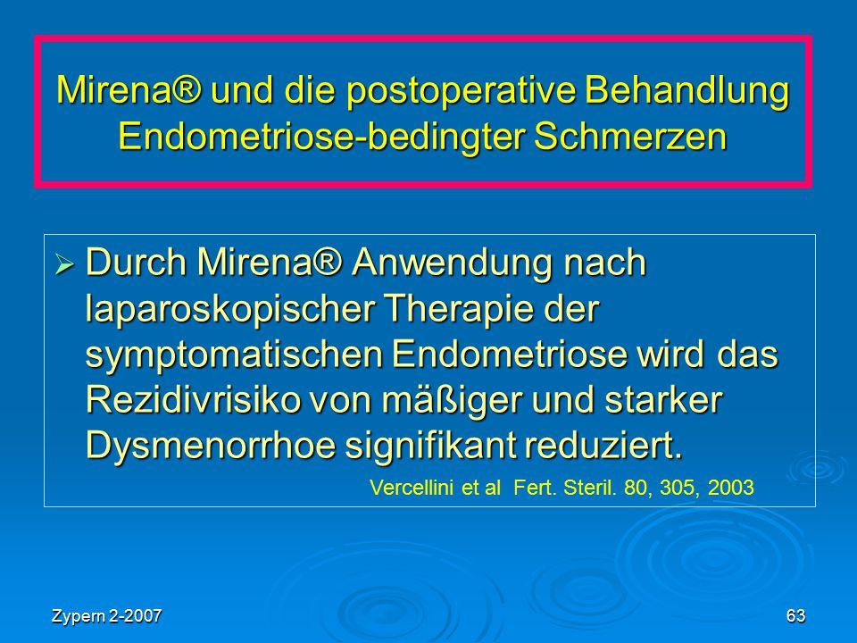 Mirena® und die postoperative Behandlung Endometriose-bedingter Schmerzen