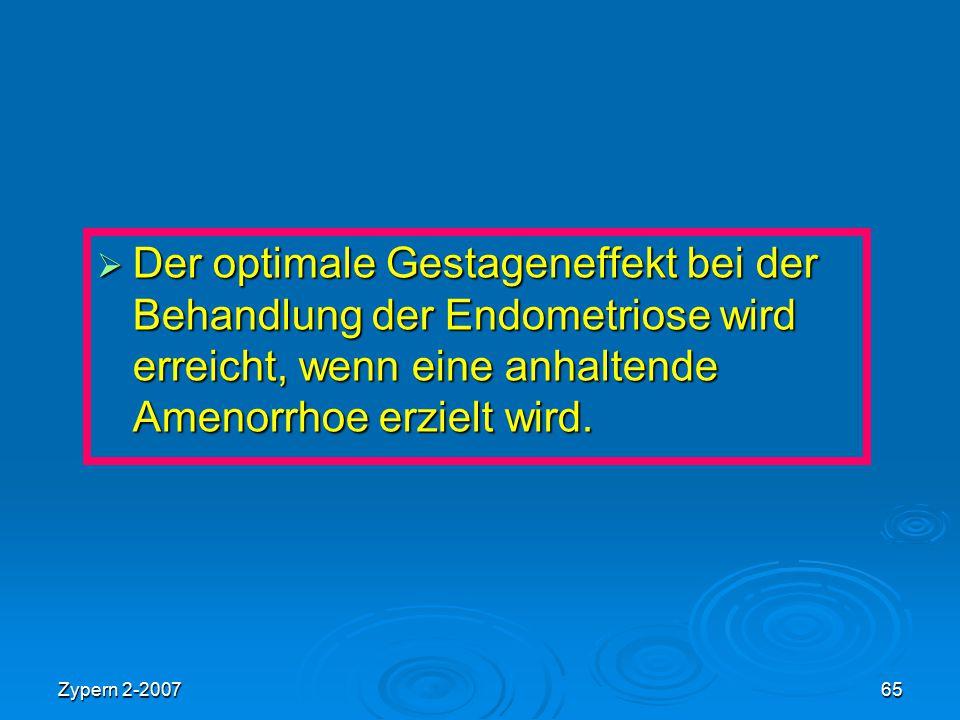 Der optimale Gestageneffekt bei der Behandlung der Endometriose wird erreicht, wenn eine anhaltende Amenorrhoe erzielt wird.