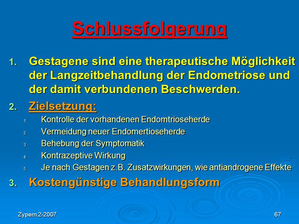 Schlussfolgerung Gestagene sind eine therapeutische Möglichkeit der Langzeitbehandlung der Endometriose und der damit verbundenen Beschwerden.