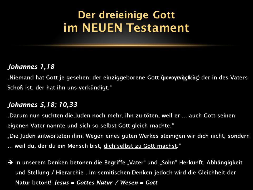 im NEUEN Testament Der dreieinige Gott Johannes 1,18