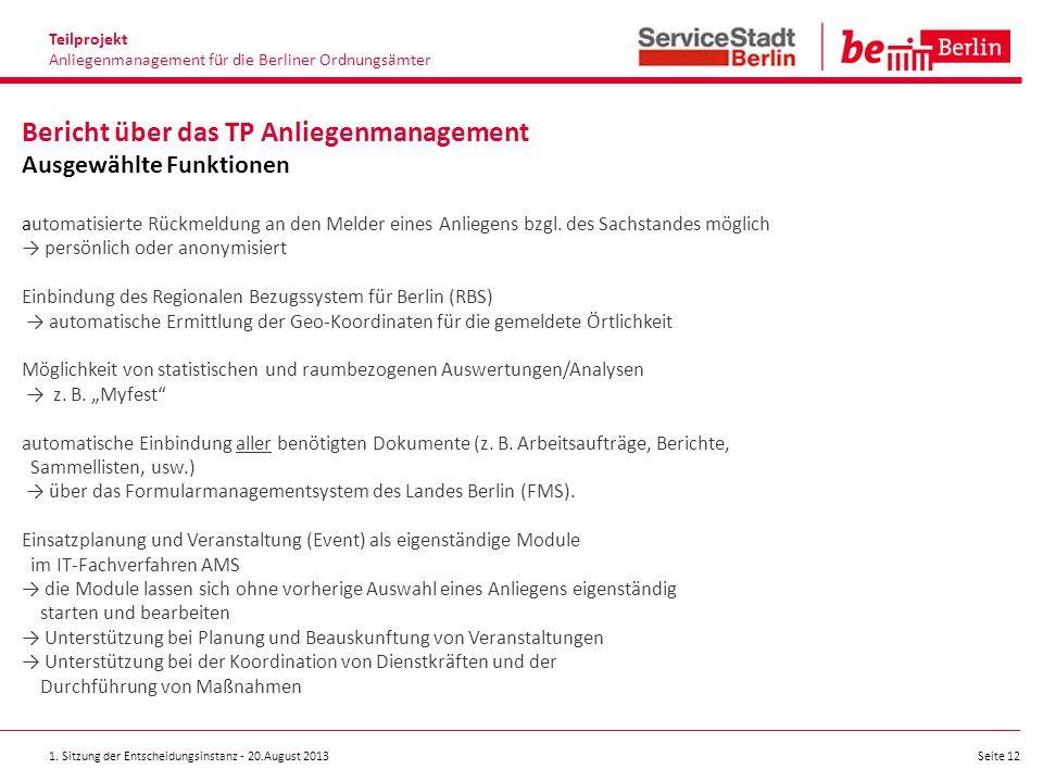 Teilprojekt Anliegenmanagement für die Berliner Ordnungsämter.