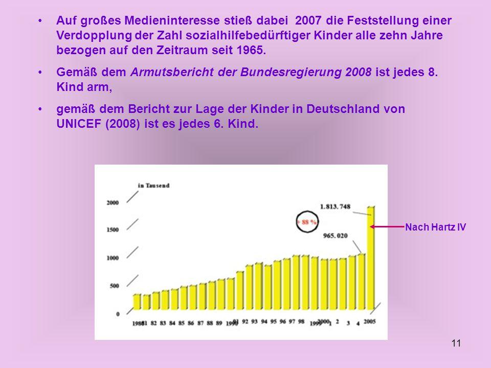 Auf großes Medieninteresse stieß dabei 2007 die Feststellung einer Verdopplung der Zahl sozialhilfebedürftiger Kinder alle zehn Jahre bezogen auf den Zeitraum seit 1965.