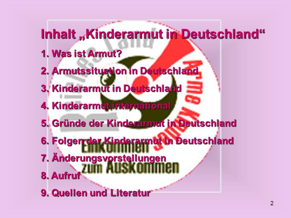 """Inhalt """"Kinderarmut in Deutschland"""
