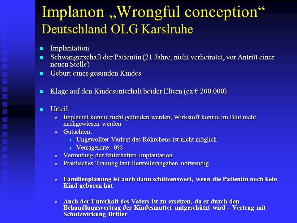 "Implanon ""Wrongful conception Deutschland OLG Karslruhe"