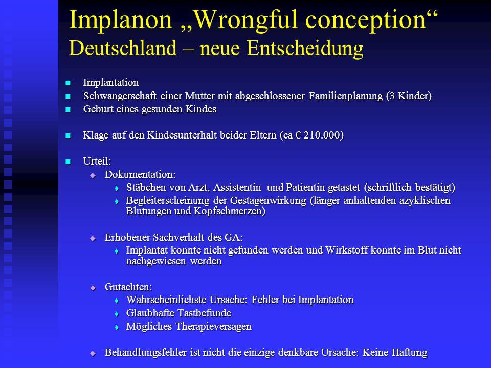 """Implanon """"Wrongful conception Deutschland – neue Entscheidung"""