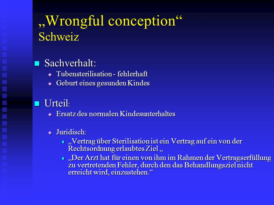 """Wrongful conception Schweiz"