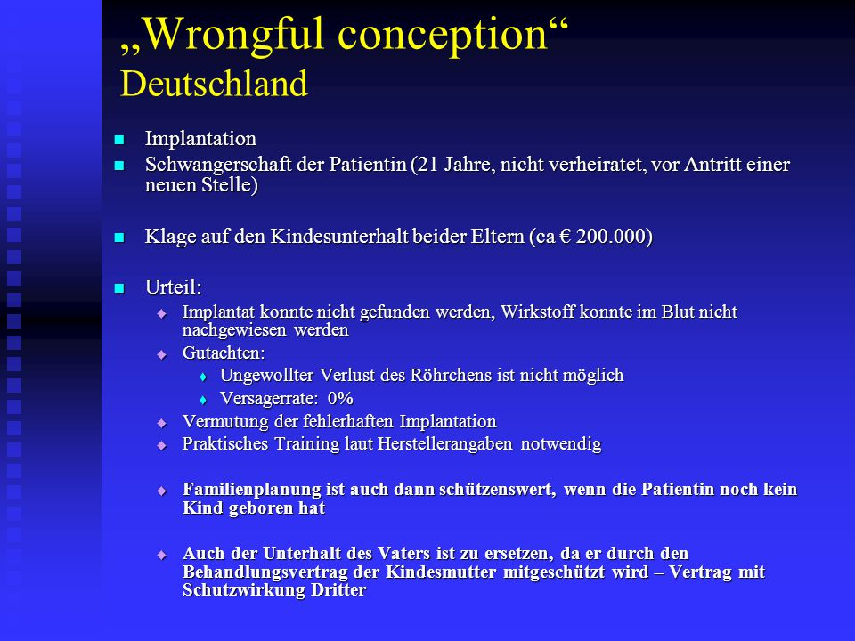 """Wrongful conception Deutschland"
