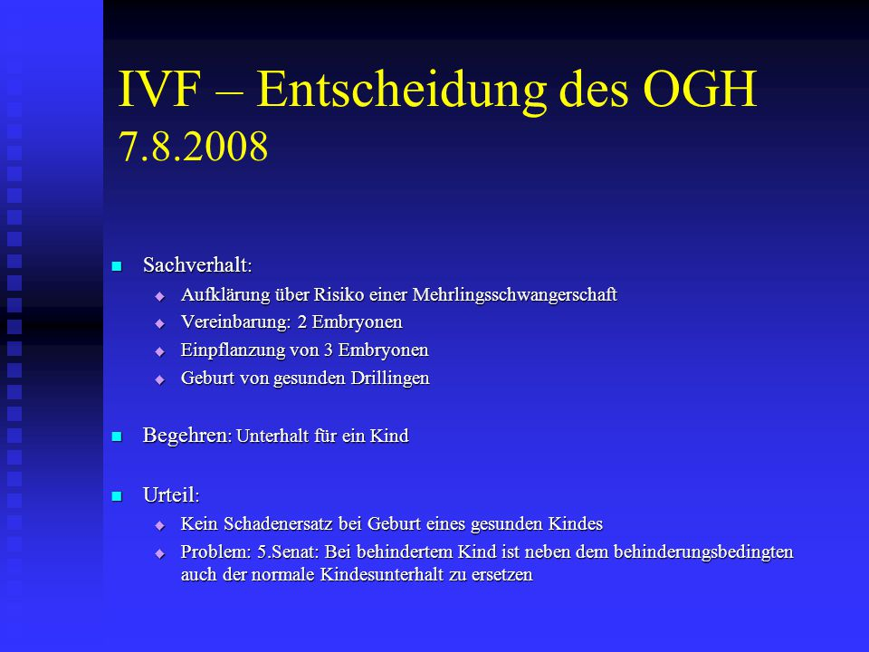 IVF – Entscheidung des OGH 7.8.2008