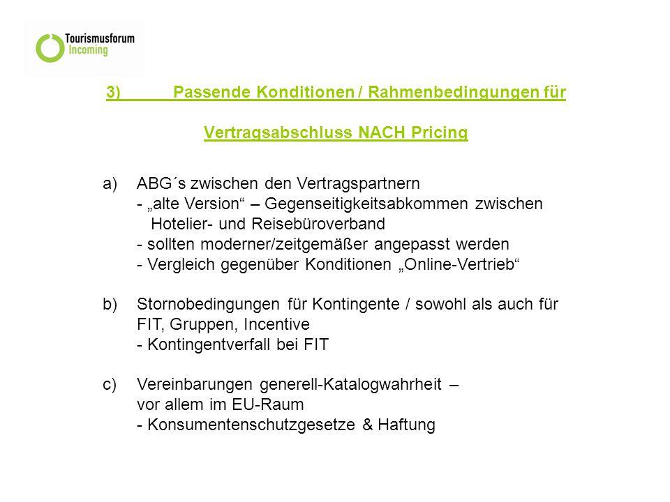 3) Passende Konditionen / Rahmenbedingungen für Vertragsabschluss NACH Pricing