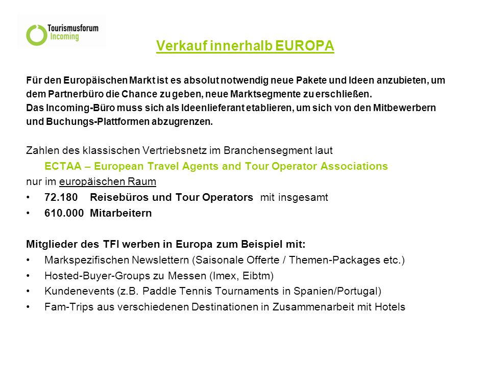 Verkauf innerhalb EUROPA