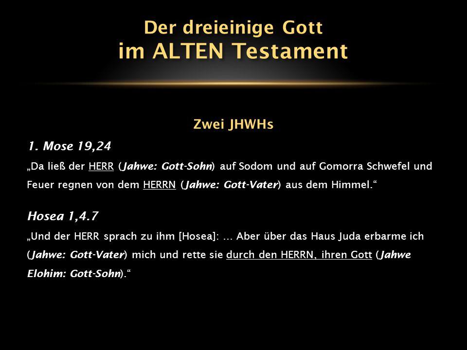 im ALTEN Testament Der dreieinige Gott Zwei JHWHs 1. Mose 19,24