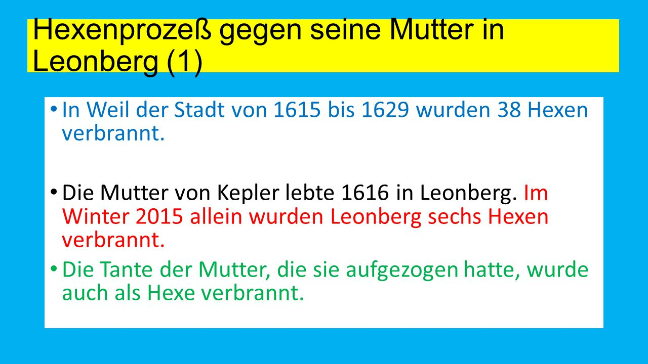 Hexenprozeß gegen seine Mutter in Leonberg (1)