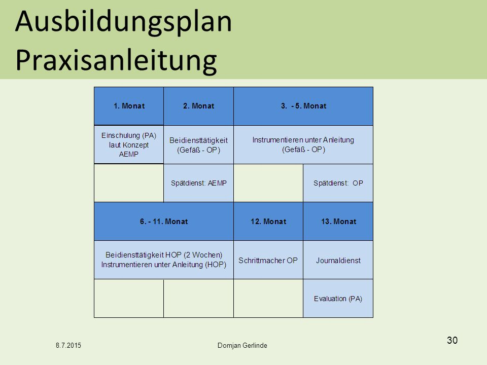 Ausbildungsplan Praxisanleitung