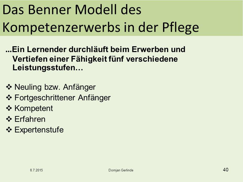 Das Benner Modell des Kompetenzerwerbs in der Pflege