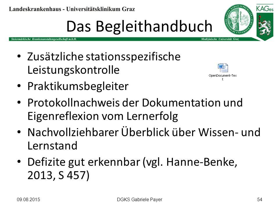 Das Begleithandbuch Zusätzliche stationsspezifische Leistungskontrolle