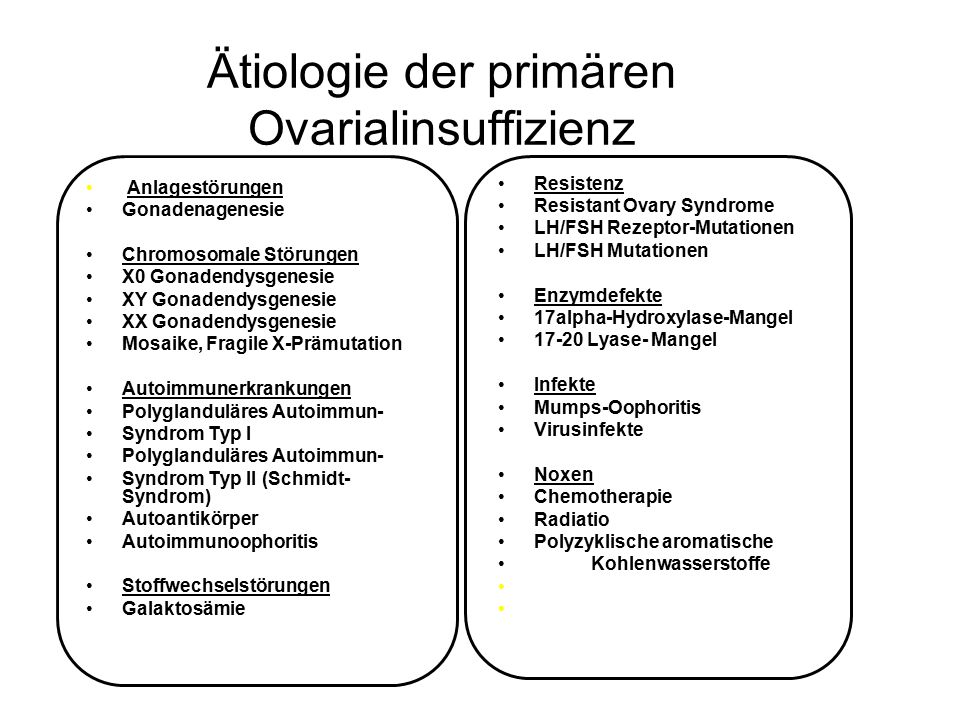 Ätiologie der primären Ovarialinsuffizienz
