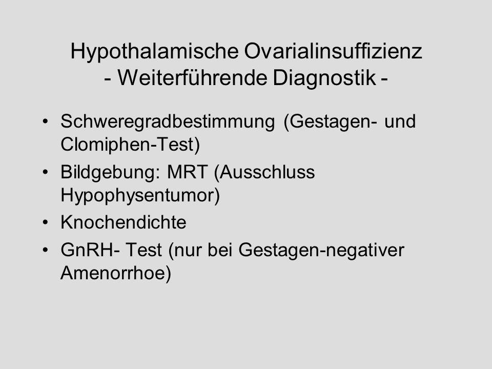 Hypothalamische Ovarialinsuffizienz - Weiterführende Diagnostik -