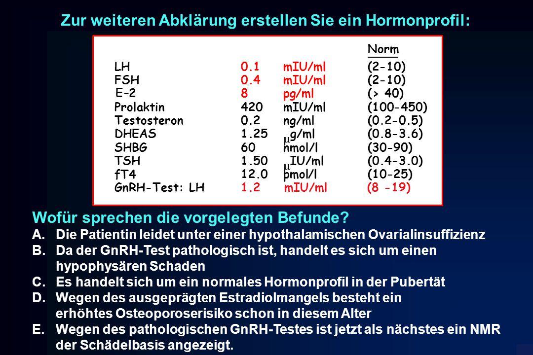 Zur weiteren Abklärung erstellen Sie ein Hormonprofil: