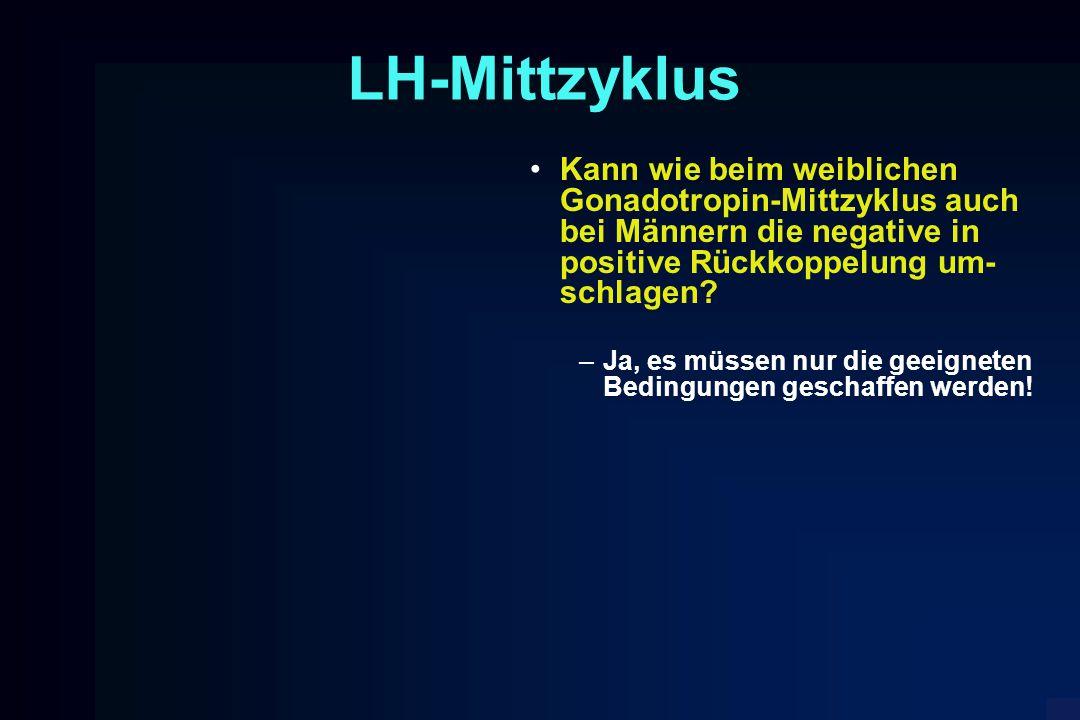 LH-Mittzyklus Kann wie beim weiblichen Gonadotropin-Mittzyklus auch bei Männern die negative in positive Rückkoppelung um- schlagen