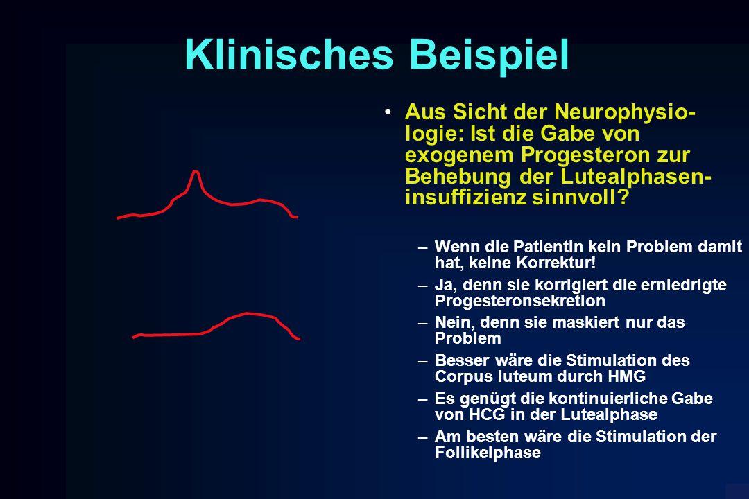 Klinisches Beispiel Aus Sicht der Neurophysio-logie: Ist die Gabe von exogenem Progesteron zur Behebung der Lutealphasen-insuffizienz sinnvoll