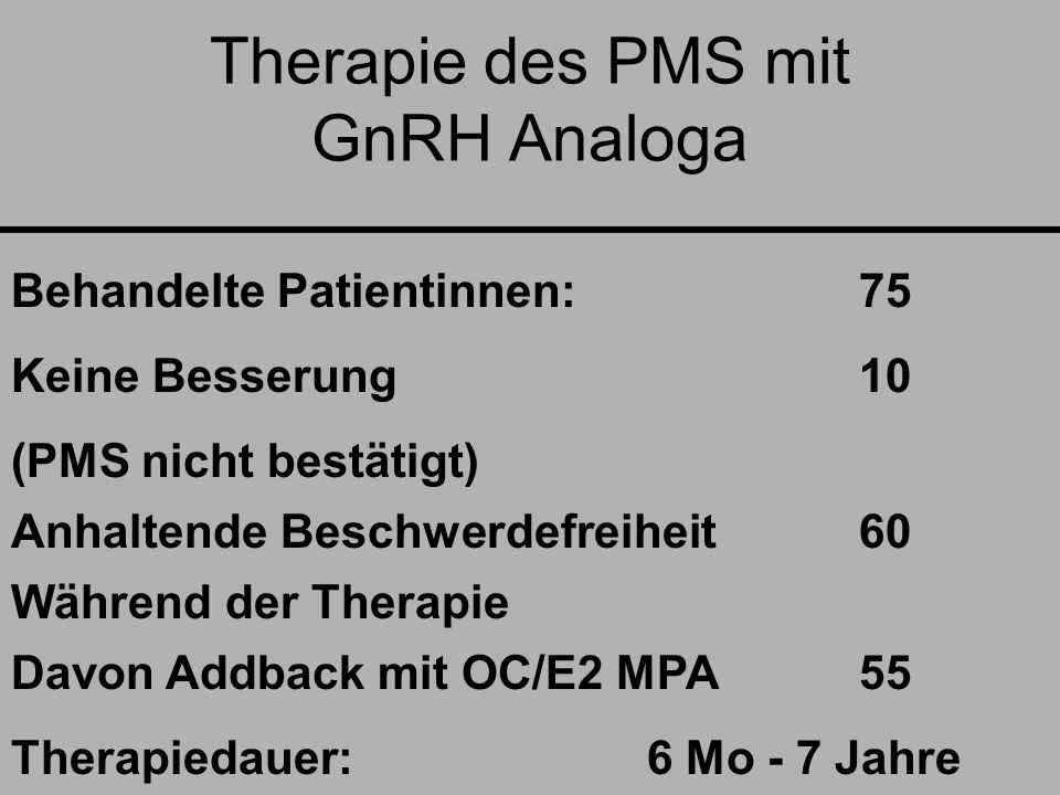 Therapie des PMS mit GnRH Analoga