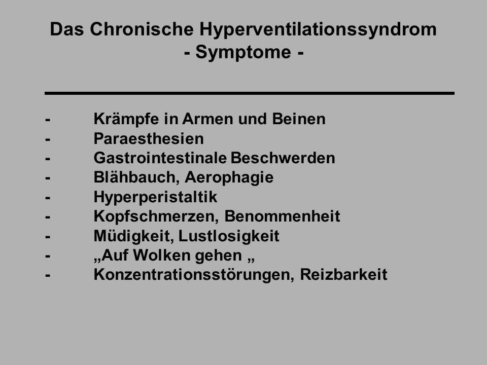 Das Chronische Hyperventilationssyndrom - Symptome -