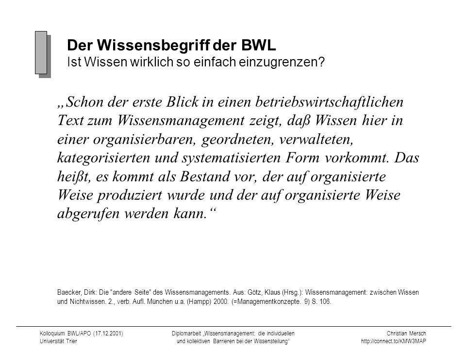 Der Wissensbegriff der BWL Ist Wissen wirklich so einfach einzugrenzen