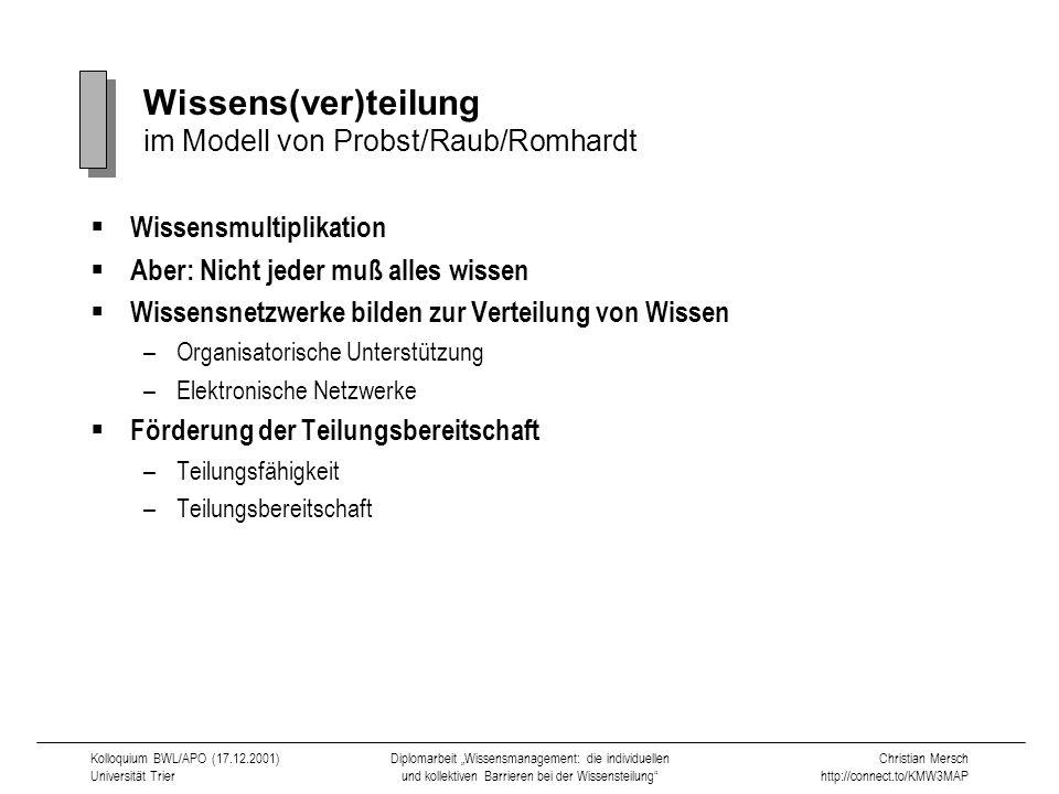 Wissens(ver)teilung im Modell von Probst/Raub/Romhardt