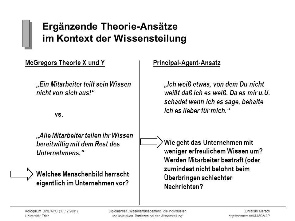 Ergänzende Theorie-Ansätze im Kontext der Wissensteilung