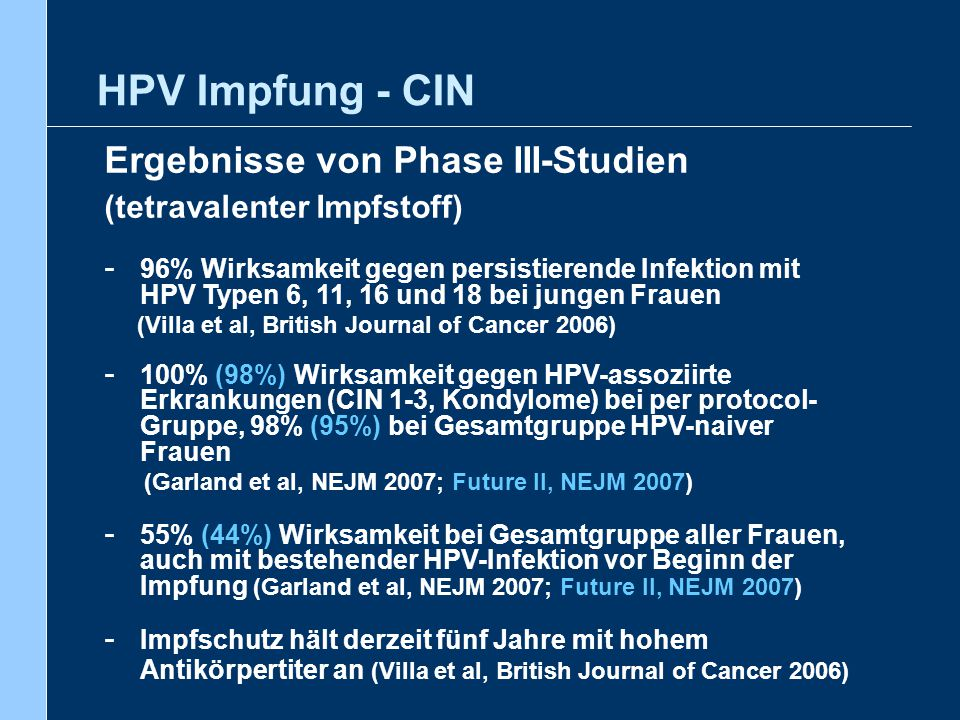 HPV Impfung - CIN Ergebnisse von Phase III-Studien