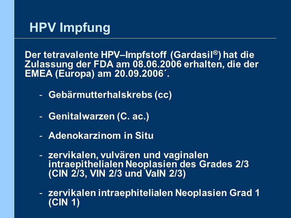 HPV Impfung Der tetravalente HPV–Impfstoff (Gardasil®) hat die Zulassung der FDA am 08.06.2006 erhalten, die der EMEA (Europa) am 20.09.2006´.