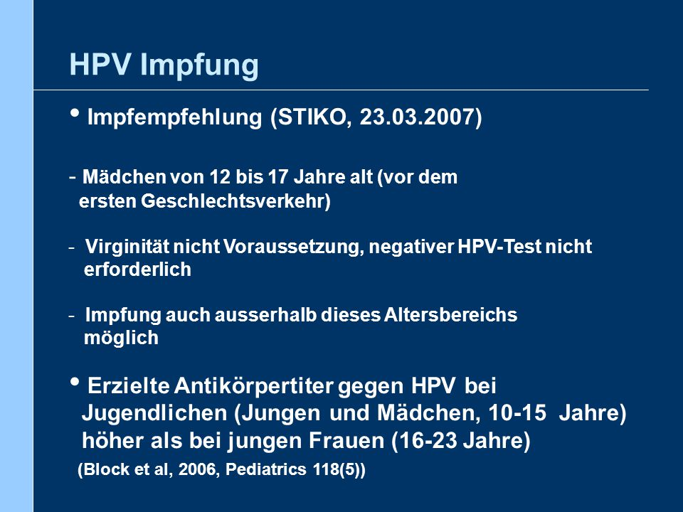 HPV Impfung Impfempfehlung (STIKO, 23.03.2007)