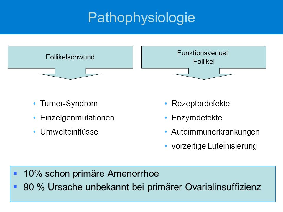 Pathophysiologie 10% schon primäre Amenorrhoe