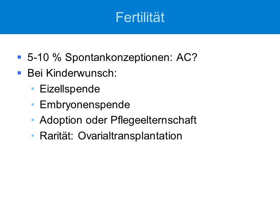 Fertilität 5-10 % Spontankonzeptionen: AC Bei Kinderwunsch: