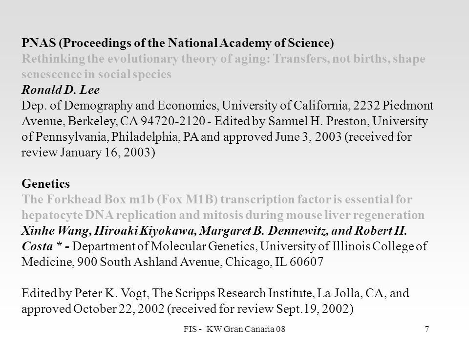 PNAS (Proceedings of the National Academy of Science)