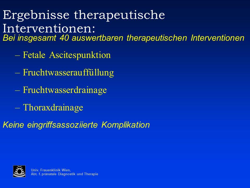 Ergebnisse therapeutische Interventionen: