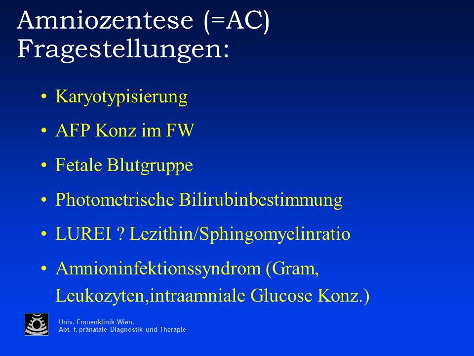 Amniozentese (=AC) Fragestellungen: