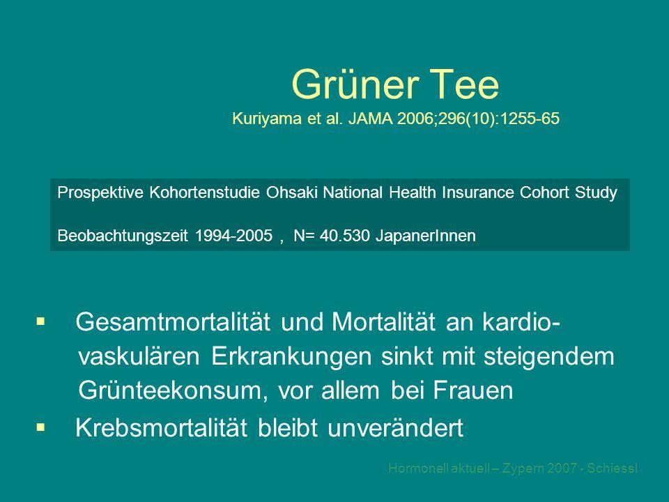 Grüner Tee Kuriyama et al. JAMA 2006;296(10):1255-65