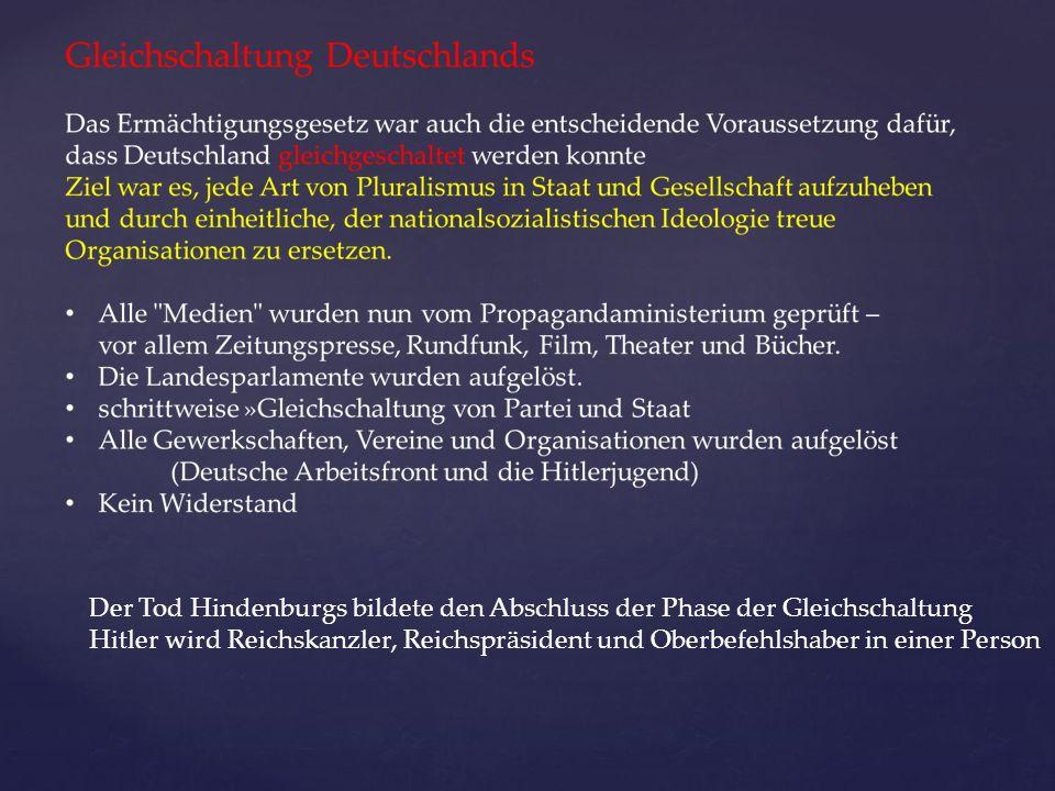 Der Tod Hindenburgs bildete den Abschluss der Phase der Gleichschaltung
