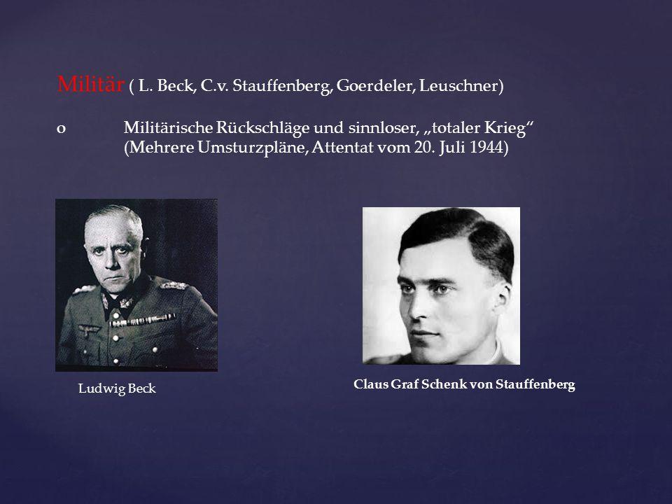 Militär ( L. Beck, C.v. Stauffenberg, Goerdeler, Leuschner)