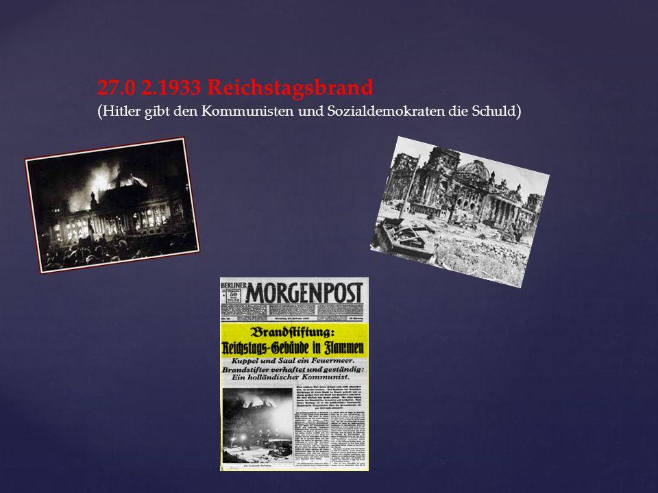 27.0 2.1933 Reichstagsbrand (Hitler gibt den Kommunisten und Sozialdemokraten die Schuld)